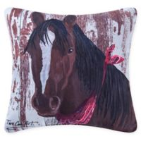 Farmhouse Horse Square Indoor/Outdoor Pillow in Red