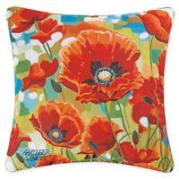 Poppy Field Square Indoor/Outdoor Square Pillow in Orange
