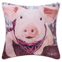 Farmhouse Pig Square Indoor/Outdoor Pillow in Red