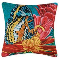 Butterfly Square Indoor/Outdoor Throw Pillow in Blue