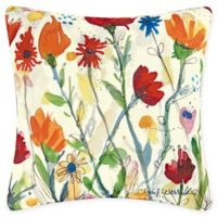 Wildflowers Square Indoor/Outdoor Throw Pillow in Yellow