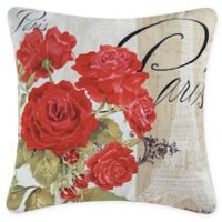 Paris Rose Square Indoor/Outdoor Throw Pillow in Red