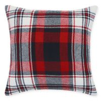 Fireside Plaid Square Throw Pillow in Red
