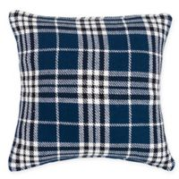 Max Plaid Square Throw Pillow in Navy
