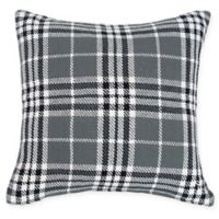 Max Plaid Square Throw Pillow in Grey