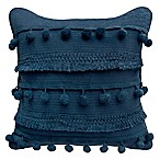 Boho Living Fiji Pompom Square Decorative Pillow in Navy