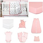The Peanutshell® Ellie Stripe 11-Piece Sleep Essentials Crib Set in Coral/Grey