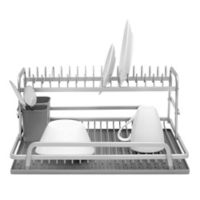 Ta Da 2-Tier Aluminum Dish Rack with Silicone Self Draining Mat in Dark Grey
