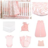 The PeanutShell™ Mod Medallion 11-Piece Sleep Essentials Crib Set in Coral