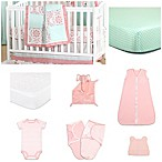 The Peanut Shell® Pretty Patch Medallion 11-Piece Sleep Essentials Crib Set in Coral/Mint