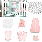 The Peanut Shell® Medallion Medley 11-Piece Sleep Essentials Crib Set in Coral/Mint