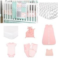 The PeanutShell™ Medallion Medley 11-Piece Sleep Essentials Crib Set in Coral/Mint