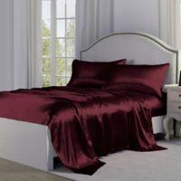 Satin Perfection King Sheet Set in Burgundy