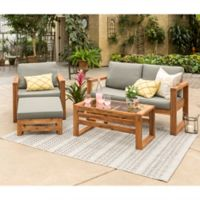 Forest Gate Otto 4-Piece Acacia Wood Patio Chat Set in Brown