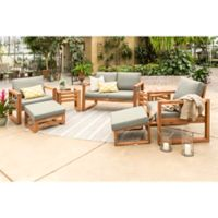 Forest Gate Otto 7-Piece Acacia Wood Patio Chat Set in Brown