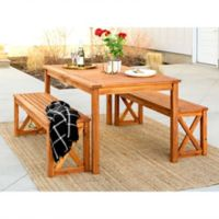 Forest Gate Aspen 3-Piece Acacia Wood Patio Dining Set
