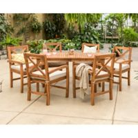 Forest Gate Aspen Acacia Wood 7-Piece Patio Dining Set with Cushions in Brown