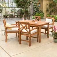 Forest Gate Aspen Acacia Wood 5-Piece Patio Dining Set with Cushions