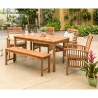 Forest Gate Arvada 6-Piece Acacia Wood Outdoor Dining Set in Brown