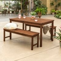 Forest Gate Arvada 3-Piece Acacia Wood Outdoor Dining Set in Dark Brown