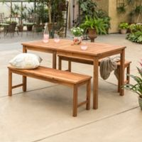 Forest Gate Arvada 3-Piece Acacia Wood Outdoor Dining Set in Brown
