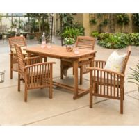 Forest Gate Arvada 5-Piece Acacia Wood Outdoor Dining Set in Brown