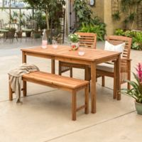 Forest Gate Arvada 4-Piece Acacia Wood Outdoor Dining Set in Brown