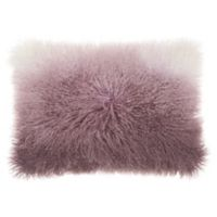 Mina Victory by Nourison Ombre Tibetian Lamb Oblong Pillow in Lavender/White