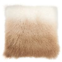 Mina Victory by Nourison Ombre Tibetian Lamb Square Pillow in Beige/White