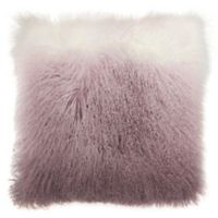 Mina Victory by Nourison Ombre Tibetian Lamb Square Pillow in Lavender/White