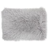 Mina Victory by Nourison Yarn Shimmer Shag Oblong Pillow in Light Grey