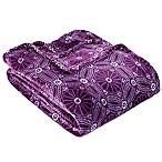 Berkshire Blanket® VelvetLoft® Dot Floral King Blanket in Eggplant