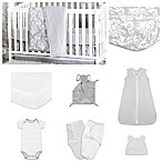 The Peanutshell® Damask Dot 11-Piece Sleep Essentials Crib Set in Grey