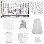The Peanutshell® Ellie Chevron 11-Piece Sleep Essentials Crib Set in Grey