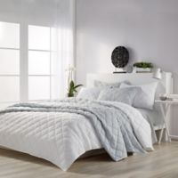 Microsculpt Solid Mosaic King Quilt Set in White