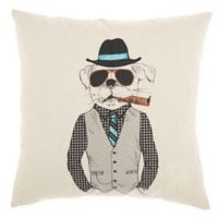 Mina Victory By Nourison Cigar Sunglass Dog Square Throw Pillow in Natural