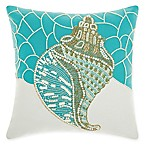 Mina Victory by Nourison Conch Shell Square Pillow in Turquoise