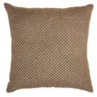 IM!H by Nourison Beaded Lattice Square Pillow in Taupe