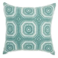 Mina Victory by Nourison Crochet Tiles Square Throw Pillow in Celadon