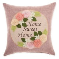 "Mina Victory by Nourison ""Home Sweet Home"" Square Throw Pillow in Lavender"
