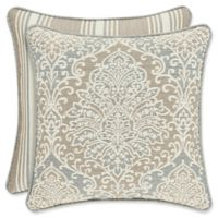 J. Queen New York Romano Damask Square Throw Pillow in Blue