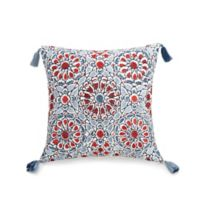 Jessica Simpson Verbena Embroidered Square Throw Pillow in Blue