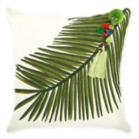 Mina Victory by Nourison Right Tassel Palm Square Throw Pillow in Green