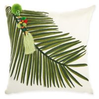 Mina Victory by Nourison Left Tassel Palm Square Throw Pillow in Green
