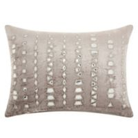 Mina Victory by Nourison Mirror Stripe Oblong Throw Pillow in Silver/Grey