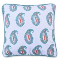 Levtex Home Linda Paisley Square Throw Pillow in White/Teal