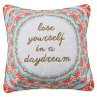 """Levtex Home Kamsa """"Lose Yourself in a Daydream"""" Square Throw Pillow in White/Red"""