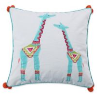 Levtex Home Kamsa Giraffe Pompoms Square Throw Pillow in White/Teal