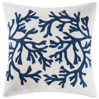 Coral Embroidered Square Throw Pillow in Blue