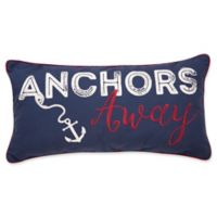 """Anchor's Away!"" Embroidered Oblong Throw Pillow in Blue"